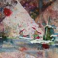 """""""Zaanse Schans"""", acryl en inkt op papier, 14x12.3cm NIET BESCHIKBAAR"""