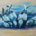 """""""De duiven"""" 2018, acryl op bord, NIET BESCHIKBAAR"""