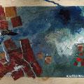 De zeehaven 2017, acrylverf, inkt en de boombladen op hout, 49x20x3,5cm