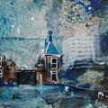 """""""De sluis in Zaandam"""", acryl en inkt op papier, 18x10cm"""