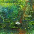 """""""De waterlelies"""", acryl en inkt op papier, 26.5x13.5cm"""