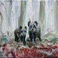 """""""Jonge wilde zwijnen"""", acryl en inkt op canvas, 20x20cm"""