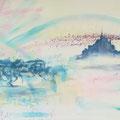 Mont St. Michel, acryl en inkt op schildersdoek, 90x120cm
