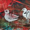 """""""De meeuwen aan de kust"""", acryl en inkt op papier, 19.5x9.5cm"""