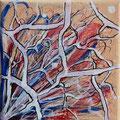 Neuronen 2019, acryl en inkt op linnen, 10x10cm