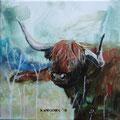 """""""Rooie koeien"""", acryl en inkt op canvas, 20x20cm"""