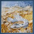 Coronella - serpente liso - acrílico com areia e pedras na tela - 70 x 70 cm