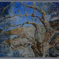 Old corkoak near the lake - acryl, sand and stones on canvas- 100 x 60 cm  -SOLD -