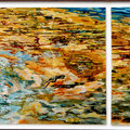 Throw and Jump - triptych - acryl with sand and stones on canvas - 133 x 40 cm