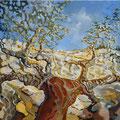 Sobreiro velho - acrílico com areia na tela - 100 x 50 cm