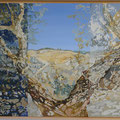 Alentejan lanscape with corkoak - acryl, sand and stones on canvas - 100 x 80 cm
