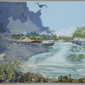The river IJssel in Brummen - acryl and IJsselstones on canvas - 110 x 70 cm