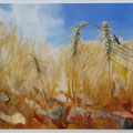 Grasshopper on grainestalks - oil and stones on canvas - 65 x 50 cm - SOLD -