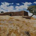 Castro da Cola- acryl, sand and stones on canvas - 100 x 60 cm