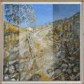 Alentejan landscape with corkoak and eucalyptustree -acryl and sand on canvas - 61 x 61 cm