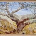 Corkoak in Alentejan landscape - acryl, sand and stones on canvas  -SOLD-