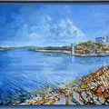 Barragem Santa Clara com Country Hotel -  óleo com pedras na tela 100 x 50 cm