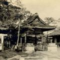 昭和27年2月 舞殿(拝殿)前御神狐台石