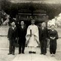 昭和27年2月 舞殿(拝殿)前御神狐除幕式