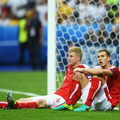 Martin Hintergger and Florian Klein of Austria are dejected after defeat in the Euro 2016 match between Iceland and Austria at Stade de France on June 22, 2016 in Paris, France, (GETTY/Botterill)