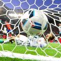 Il portiere turco Volkan Babacan a terra dopo il goal di Alvaro Morata durante Spagna e Turchia (1-0), all'Allianz Riviera stadium in Nizza, 17 Giugno 2016 (KILIC/Getty)