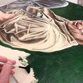 21 : application du vert au pinceau éventail pour préparer le glassis.