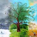 les 4 saisons du châtaigner. Acrylique sur toile 100 x 100 réalisée spécialement pour l'occasion