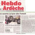 Article hebdo de l'Ardèche.