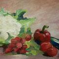 Stillleben mit Gemüse, 40x60, Acryl auf Papier, 2013; M. Körner