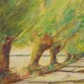Weiden hinterm Haus 1; 2013; Acryl auf Papier; 60x80; M. Körner