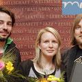 2009, Andreas Stichmann beim MDR-Literaturwettbewerb (mit Katharina Hartwell und Stefan Petermann, Foto: MDR)