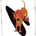 """""""Hund"""" (9xTier)  Gelschreiber, Aquarellbuntstift"""