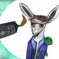 """""""Alice. Das Kaninchen""""  Aquarellbuntstift, Acrylfarbe, Graphit"""