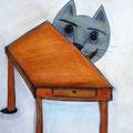 """""""Alice. Die Katze ist schon da""""   Aquarellbuntstift, Acrylfarbe, Gelschreiber"""