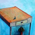 """""""Alice. Unterm Tisch""""  Aquarellbuntstift, Acrylfarbe, Graphit"""