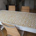 Villanuova Fliesentisch Eiche weiß lackiert mit Beton-Designfliese