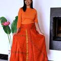 longue orange ruban portée envers