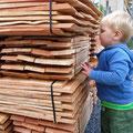 01.08.2014 - Der erst zweijährige Lionel Fraser Seiler bemerkt lautstark, dass die Schindeln sehr gut riechen ;-)