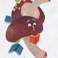 11月 「ふむふむ読書、秋の夜長」季節の野菜さんたち(オリジナル/個展作品)