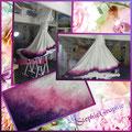 Personnalisation robe de mariée, dégradé de 3 couleurs. (acrylique + fixation)