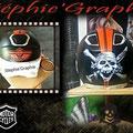 Sur casque avant  logo Harley + logo surfeur Robin Naish AVANT VERNIS.