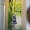 Bambou sur mur placo pour WC