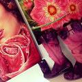 Airbrush sur bottes (strass et feuille métal)