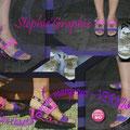 Chaussure customisée avec des marqueurs + vernis.