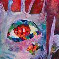 視線 364×515mm アクリル絵の具/色紙