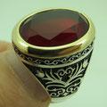 кольцо мужское из серебра с рубином
