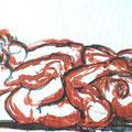 """""""Rückenlage"""", 2005, 63 cm x 45 cm, Pinselzeichung"""
