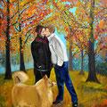 Kuss im Wald (2013), 80 x 60 cm, Öl auf Leinwand