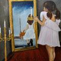Kunst bei Kerzenschein (2014), 80 x 60 cm, Öl auf Leinwand