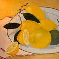 Zitronen auf Teller 70 x 100 cm